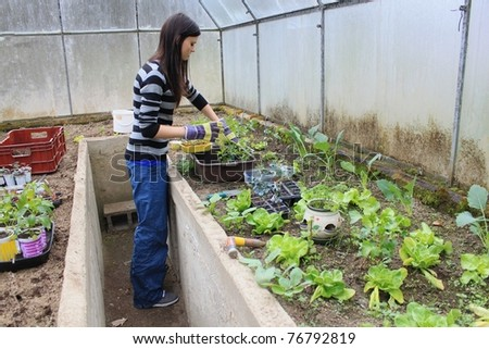 Young girl working in the greenhouse - stock photo