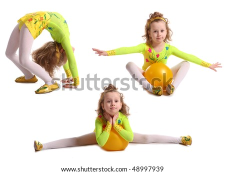 Young girls-gymnasts are shown on a white background - stock photo