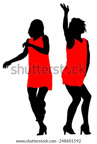 Young girls in dress on white background - stock photo