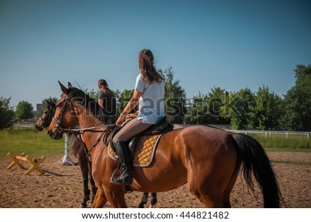 Young girls is going astride a horse in sunny  day