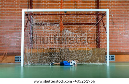 Soccer Ball Inside Empty Goal Posts Stock Photo 359189108 ...