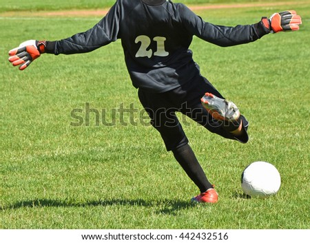 Young goalkeeper kicks off the ball at the soccer field