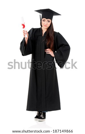 Young graduate girl student in mantle with diploma, isolated on white background - stock photo