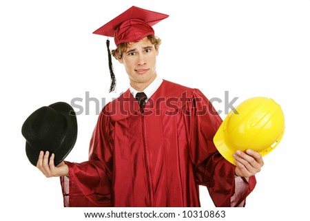 Young graduate trying to decide on a career path.  Isolated on white.