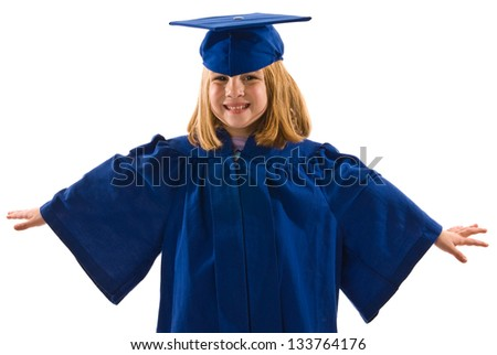 Young graduate with her arms spread like wings - stock photo
