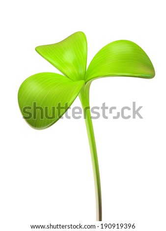young green sprout three leaf 3D - stock photo