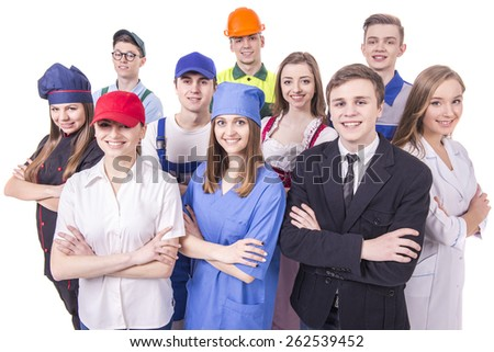 Young group of industrial workers. Isolated on white background. - stock photo