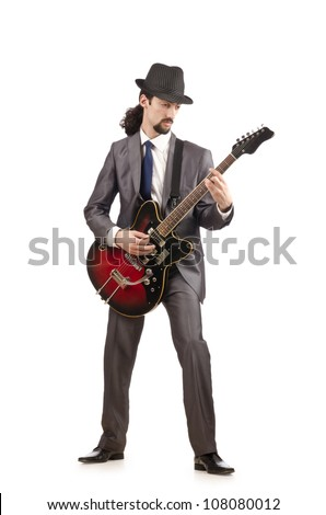 Young guitar player isolated on white