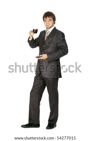young guy drinks coffee isolated on white - stock photo