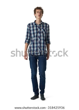 Young guy full-length portrait isolated on white background