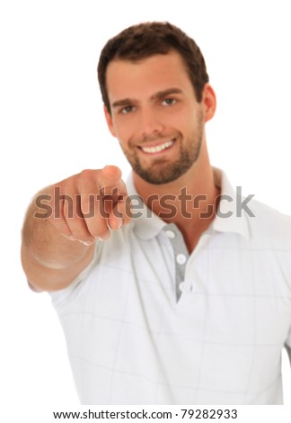 Young guy pointing with finger. All on white background. - stock photo