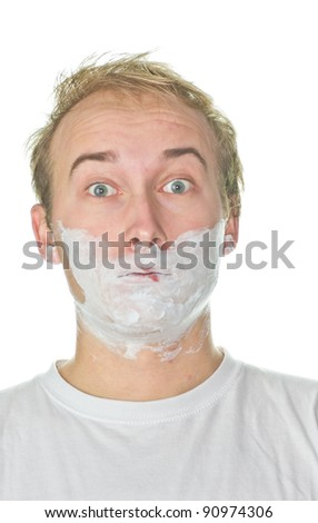 Young guy shaving