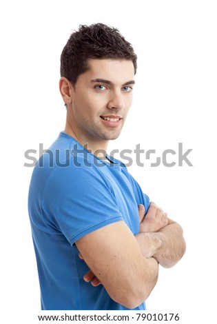Young guy with hands folded isolated on white background - stock photo