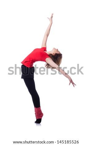 Young gymnast exercising on white - stock photo
