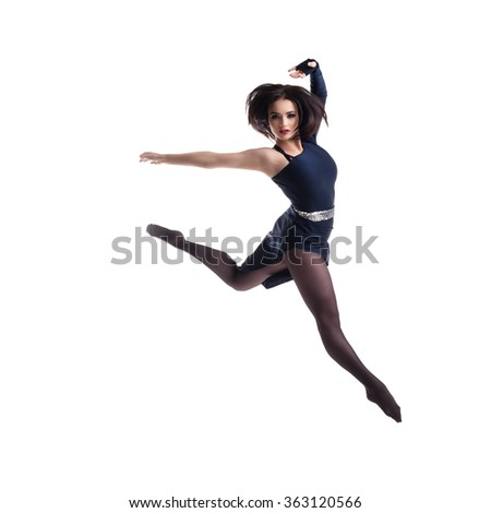 young gymnast on a white background jumping.young gymnast on a white background