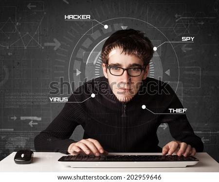 Young hacker in futuristic enviroment hacking personal information on tech background - stock photo