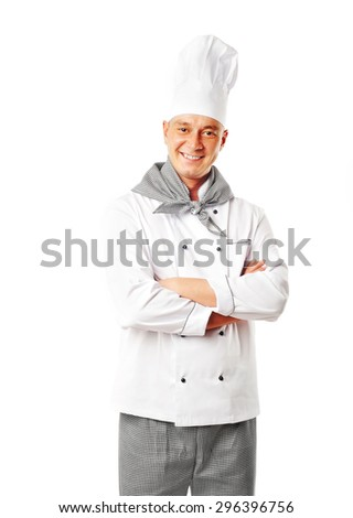 young hadsome male chef isolated on white background - stock photo