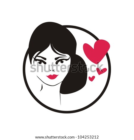 Young, hand drawn in simply glamour design style, thinking woman with black hair and hearts. Illustration isolated on white background. Girl with love on her mind icon - stock photo