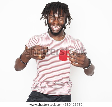 young handsome afro american boy stylish hipster gesturing emotional isolated on white background smiling goofy - stock photo