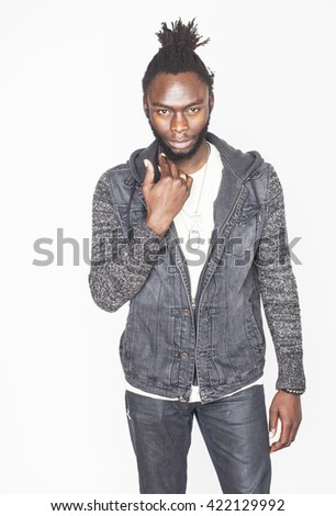 young handsome afro american man gesturing emotional posing isolated on white background, real angry character - stock photo