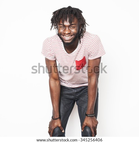 young handsome afro american man gesturing emotional posing isolated on white background stylish hipster close up - stock photo