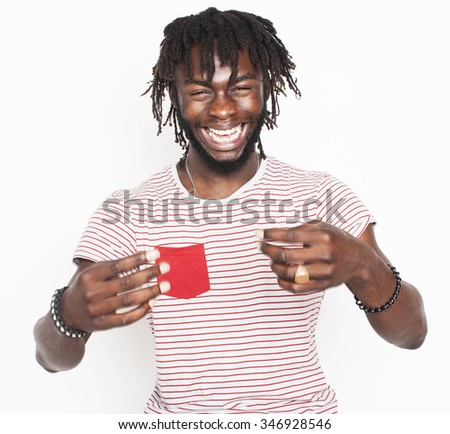young handsome afro american man gesturing emotional posing isolated on white background stylish hipster close up. real character - stock photo