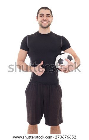 young handsome arabic man in sportswear with soccer ball isolated on white background