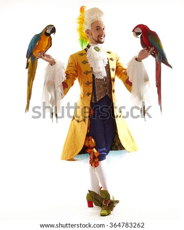 Young handsome brunette man in beautiful colorful costume Prince with two Ara parrots  sc 1 st  Shutterstock & Young Handsome Brunette Man Beautiful Colorful Stock Photo (Edit Now ...