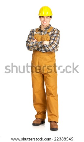 Young handsome builder in uniform. Isolated over white background