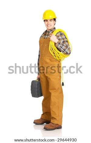 Young handsome builder in yellow uniform. Isolated over white background
