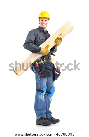 Young handsome builder. Isolated over white background