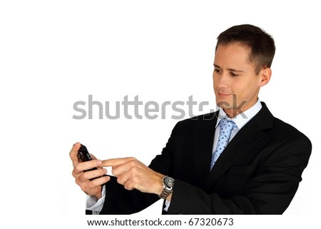Young handsome business man using his smartphone - stock photo