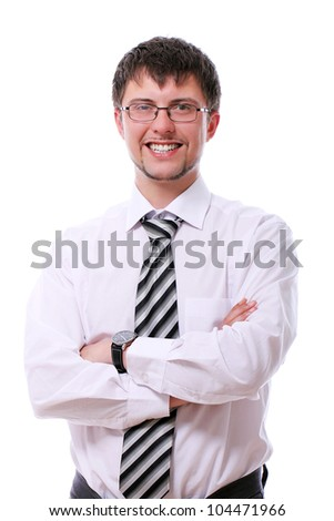 Young handsome businessman in glasses