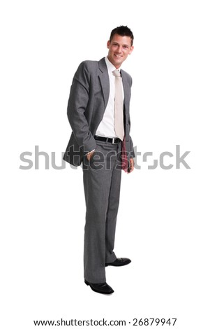 young handsome businessman standing alone isolated over white background - stock photo