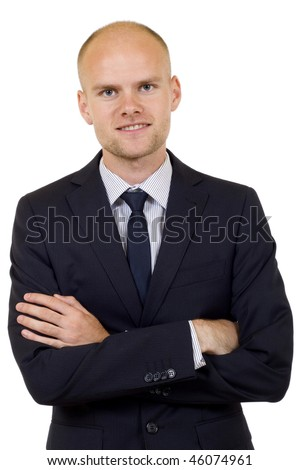 Young handsome businessman studio portrait over white