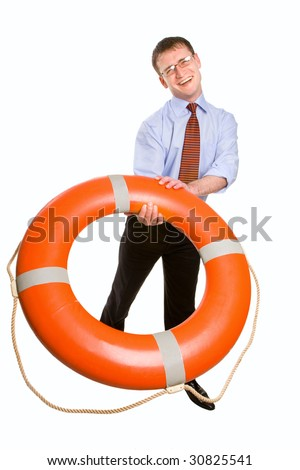 Young handsome businessman throwing a life buoy - stock photo
