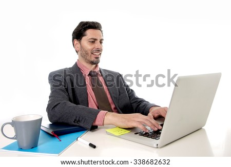 young handsome businessman  working at office computer laptop looking happy satisfied and relaxed in business and work success concept isolated on white background - stock photo