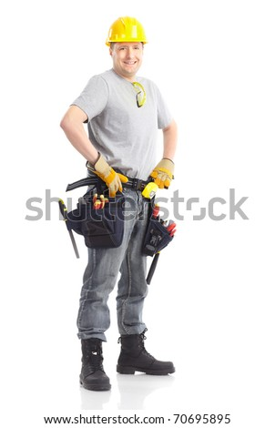 Young handsome contractor  . Isolated over white background - stock photo