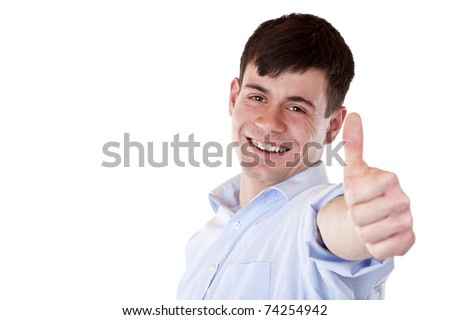 Young handsome employee shows thumb into camera.Isolated on white background. - stock photo