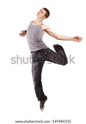 Young handsome fresh man breakdancing with stylish clothes. isolated on white background - stock photo