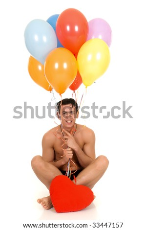 Young handsome gigolo man with valentine heart and balloons,  Studio shot, white background - stock photo