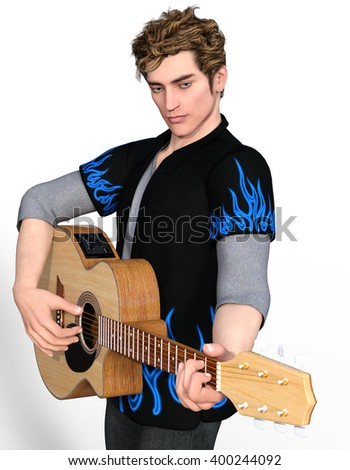 Young handsome guitarist playing the acoustic guitar. 3d illustration - stock photo