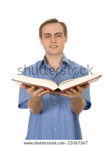 Young handsome guy holding an opened book. Isolated on white. - stock photo