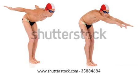 Young handsome male athlete, swimmer with goggles and swimming cap.  Studio shot. Double shot, two start positions. - stock photo