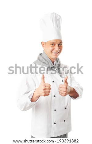 young handsome male chef isolated on white background - stock photo