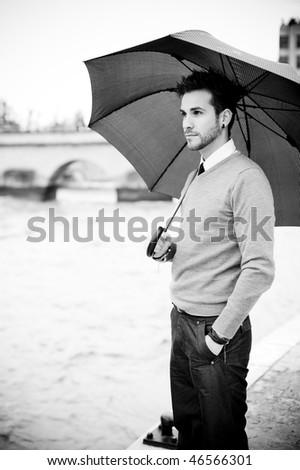 Young handsome man close portrait. - stock photo