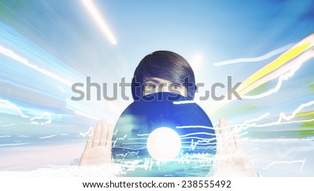 Young handsome man dj holding disco plate - stock photo