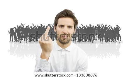 young handsome man in a crowd. people silhouettes - stock photo