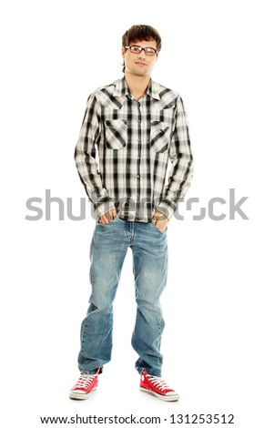 Young handsome man,isolated on a white background