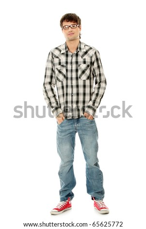 Young handsome man,isolated on a white background - stock photo